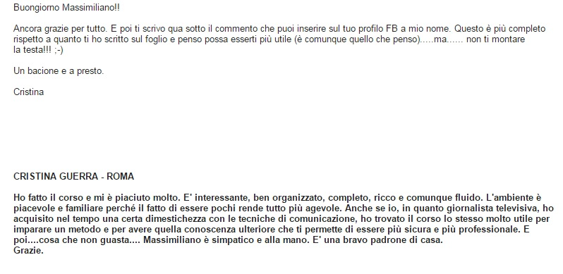 testimonianza Public Speaking Massimiliano Cavallo