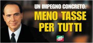 """Manifesto Berlusconi Forza Italia Politiche 2001. Il più famoso """"meno tasse per tutti"""""""