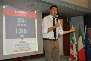 Matteo Renzi presenta la sua proposta con una slide