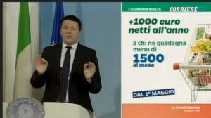 Renzi durante la conferenza stampa presenta le sue slide