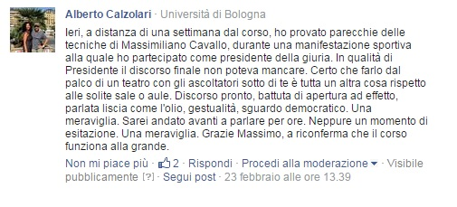 Testimonianza di un corsista del corso di public speaking di Bologna
