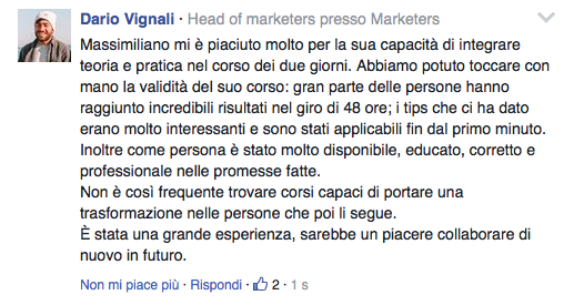 Testimonianza Dario Vignali e Marketers al Corso Public Speaking Top